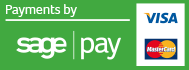 Payments by SagePay: VISA and Mastercard accepted